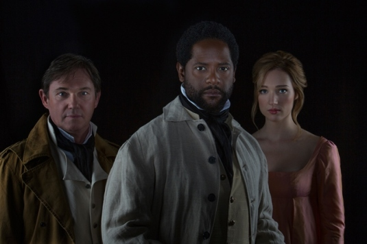 (from left) Richard Thomas stars as Iago, Blair Underwood as Othello, and Kristen Connolly as Desdemona. by Jim Cox.